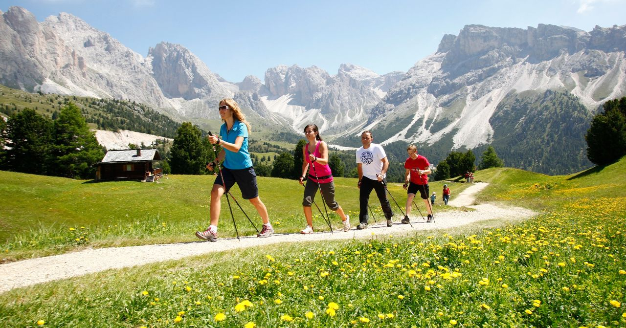Nordic walking in Val Gardena estate