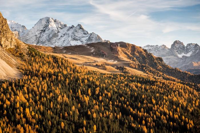 colori dell'autunno in val gardena paesaggio